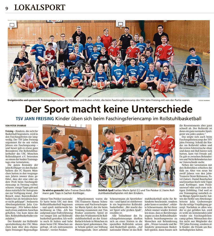 Basketballcamp Freising Zeitungsausschnitt Freisinger Tagblatt